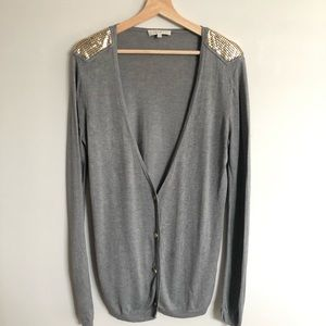 Sandro cardigan with gold chain mail detail